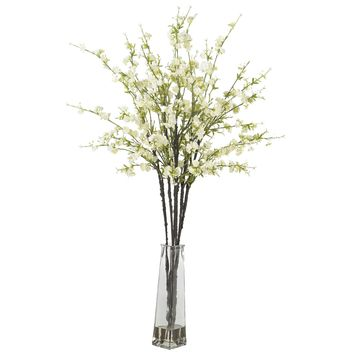 Artificial Flowers -White Cherry Blossoms With Vase Flower Arrangement