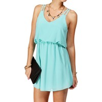Sale-Mint Double Strap Chiffon Dress
