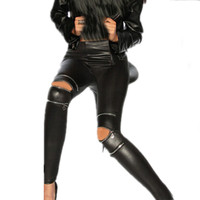 Women Leggings womens lycra FAUX Leather spandex calzas lycra mujer zipper Leggins Sexy Punk Gothic jeggings legins pantalones