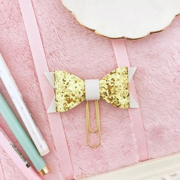 Bow Planner Clip Gold Glitter with Faux Leather White