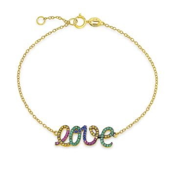 Love Word CZ Pave Chain Link Bracelet 14K Gold Plated Sterling Silver