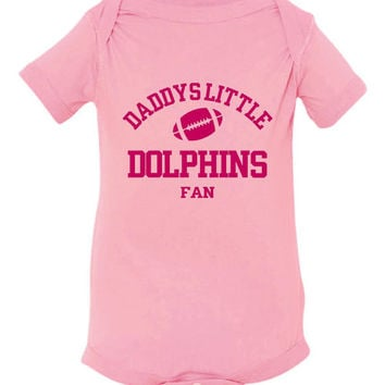 DADDYS LITTLE DOLPHINS Fan Girls Pink Toddler Shirt Or Creeper Miami Dolphins Fan Football Tshirts