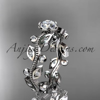 platinum diamond leaf wedding ring,engagement ring ADLR1