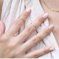 New Women Fashion Gold/Silver/Rose Metal Fine Every Rings Finger Ring Stacking Midi Rings For Women Gold Ring