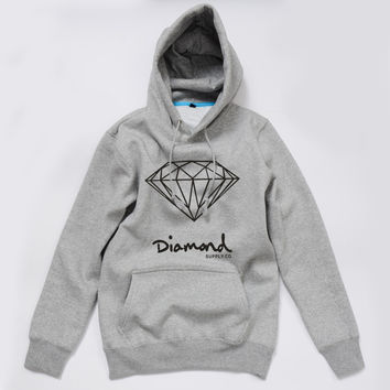 Diamond Supply Co Gray Hot Fashion Men's Spring Autumn Hoodie Pullover Streetwear Hooded Sweatshirt
