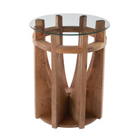 Lazy Susan Wooden Sundial Side Table - 985-037