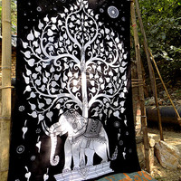 twin black white cotton indian elephant wall hanging hippie tapestry bedding throw elephant tree of life bedspread bed cover ethnic decor
