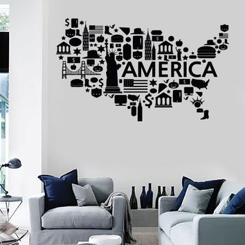Wall Stickers Vinyl Decal USA Map Famous Places America Coolest Decor Unique Gift (z2204)