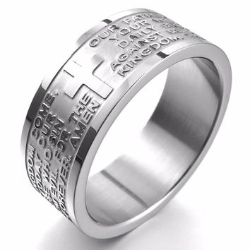 Men Wide 8mm Stainless-Steel Ring Band Silver-Tone English Bible Lords Prayer Cross Size