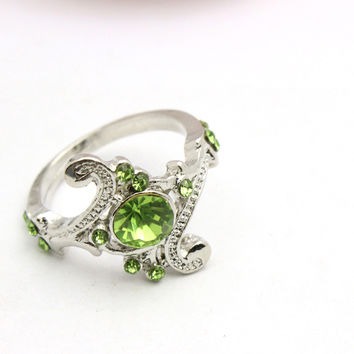 Size 6 Jewelry Harry Potter Slytherin School Ring  Crystal Ring Women Jewelry  And Retail