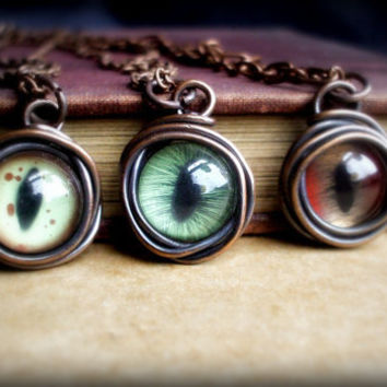 Evil Eye Necklace Copper Wire Wrapped Eye