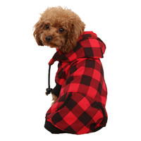 Red Squared Dog Hooded Sweater 100% Cotton (available in XS - XXL for small and large dogs)