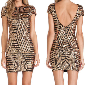 Bronze Short Sleeve Sequined Backless Mini Dres