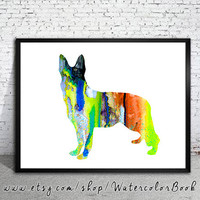 German Shepherd 3 Watercolor Print Archival, Children's Wall Art, German Shepherd watercolor, watercolor painting, dog art,