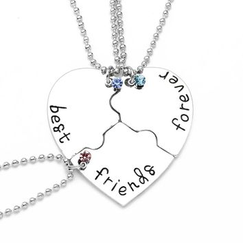 "3 Pcs/Set ""best friend forever"" Necklaces Fashion Heart Pendant Charm 3 Colors Crystal Beads Silver Plated Friendship Necklace"