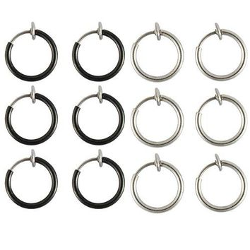 BodyJ4You Fake Clip On Earrings Value Pack Black Set Non Piercing Hoop Earrings 12 Pieces