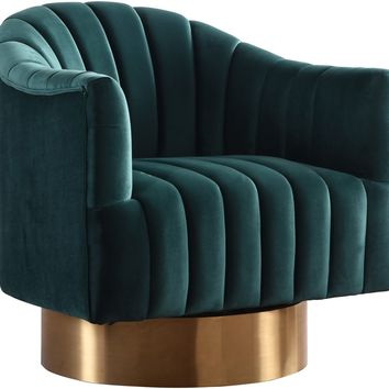 Farrah Green Velvet Swivel Accent Chair With Gold Base