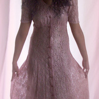 Vintage Pink Lace All that Jazz 1980's Long Dress for Valentines