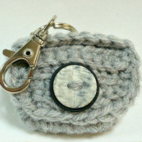 Coin Purse with Swivel Clasp and Key Rings Crochet Change Purse Key Chain Coin Pouch  Light Grey 2 x 2 inches