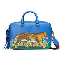 Gucci Tiger print leather top handle bag