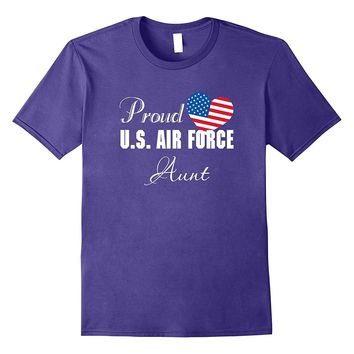 Military Proud US Air Force Aunt Flag Heart T-shirts