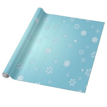 White Snowflakes Wrapping Paper