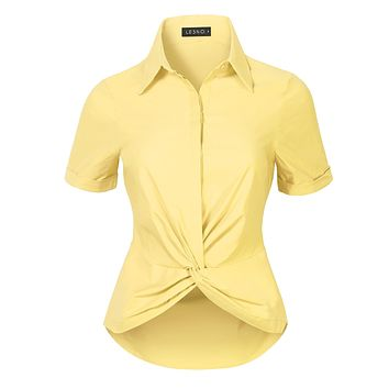Ultra Stretchy Twist Front Short Sleeve Collared Button Down Shirt Top