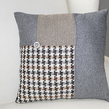 Upcycled Pillow Cover 16x16, Grey Tan and Plaid  with Silver Button, Gift Under 20