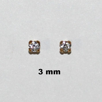 Handmade Magnetic 3 and 4 mm Non Pierced Square Set  Swarovski Crystal Earrings