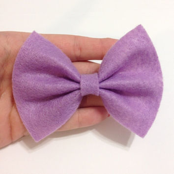 Light Purple Felt Hair Bow on Alligator Clip - 4 Inches Wide - AFFORDABOW Line - Affordable and High Quality Hair Bows