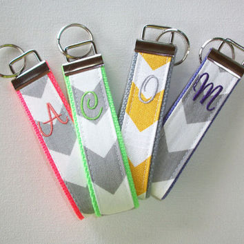 Personalized Key FOB / KeyChain / Wristlet initial monogram on your choice of chevron preppy - custom Teacher Appreciation Gift