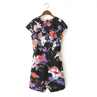 Summer Floral Polyester Stretch Short Sleeve Slim Skirt One Piece Dress [4917829188]