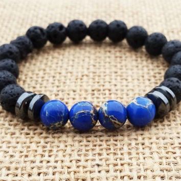 Men's Bracelet Navy Blue Sea Sediment Jasper Men Jewelry Japa Mala Buddhist Bracelet Men Yoga Beaded Bracelet  Gifts For Him