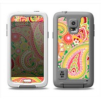 The Vibrant Green and Pink Paisley Pattern Samsung Galaxy S5 LifeProof Fre Case Skin Set