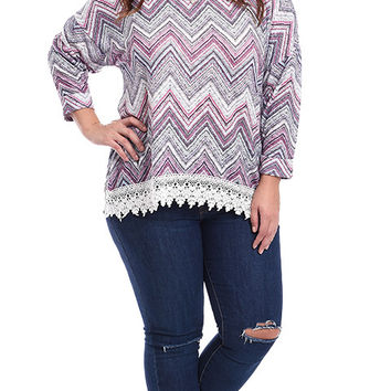 Plus Size Dreamscape Crochet Trimmed Printed Knit Top