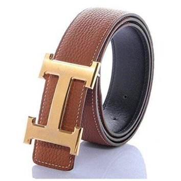 DCCKIN9 H Belts for Men Business Casual Leather Belt 1.5inch Wide (Waist Size 28-34 inch, Brown Gold)