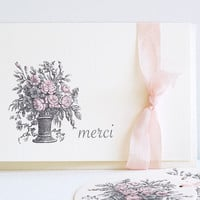 French Floral Thank You Cards - Set of Six - Pink - Grey