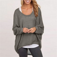 ZANZEA Blusas 2016 Women Blouses O neck Batwing Long Sleeve Casual Loose Solid Shirts Spring Autumn Top Plus Size S-3XL 9 Colors