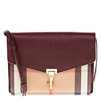 Burberry Women's Small Leather and House Check Crossbody Bag Beige Wine