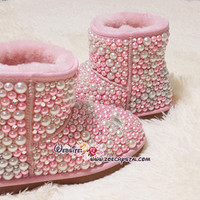 PROMOTION WINTER Bling and Sparkly Pink Pearl Short SheepSkin Wool BOOTS w shinning Czech or Swarovski crystals