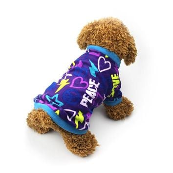 Warm Fleece Dog Clothes Graffiti Style Small Pet Dog Coat Puppy Vest Sweater Outfit For Dog Teddy Chihuahua Clothes
