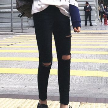 Black Cut Out Pockets Buttons High Waisted Fashion Bodycon Long Ripped Jeans