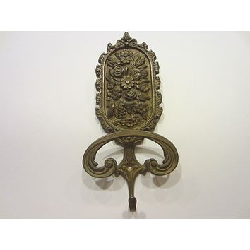 Italian Brass Hook Wall Hanging Decorated Various Flowers Fruit