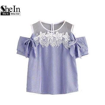 SheIn Womens Blouses Summer Ladies Blue Vertical Pinstripe Contrast Lace Bow Tie Detailed Top Short Sleeve Cold Shoulder Top