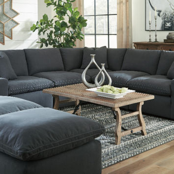 31104-64-77-46-2-65-08-2 7 pc Lotus savesto charcoal linen like fabric feather blend modular sectional sofa