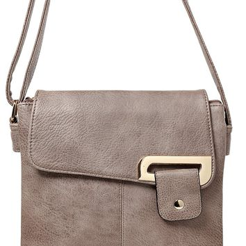 Double Compartment Cross Body Bag in Mocha