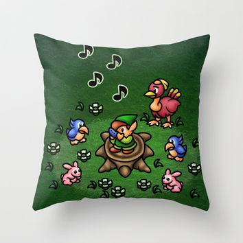 Flute Boy Throw Pillow by Likelikes