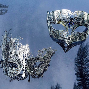 His & Hers Couples Masquerade Mask, Silver Filigree Metal Masquerade Masks for Couples, Masquerade Ball Mask