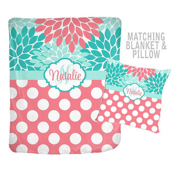 Coral Turquoise Blanket - Flower Polka Dots - Throw Pillow - Blanket Pillow Set -Girl MONOGRAM-Personalized Nursery Bedding-Girl Shower Gift