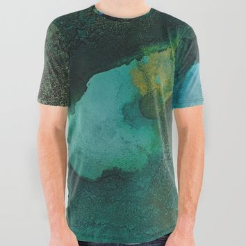 Green and Gold All Over Graphic Tee by duckyb